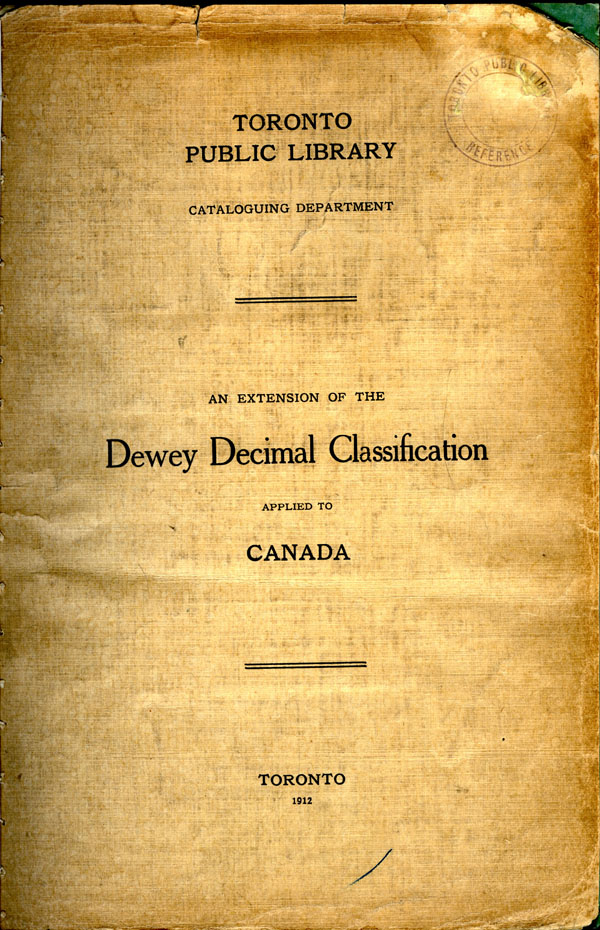 An Extension of the Dewey Decimal Classification applied to  Canada, 1912.